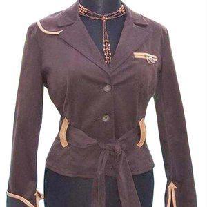 Cotton Suede Removable Belt Leather Trim Jacket